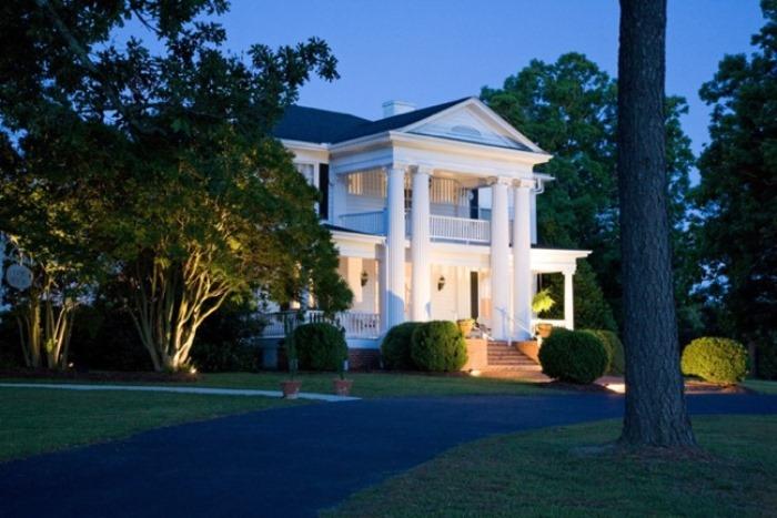 Hudson Manor Entrance in evening - Louisburg NC Intimate Wedding Venue
