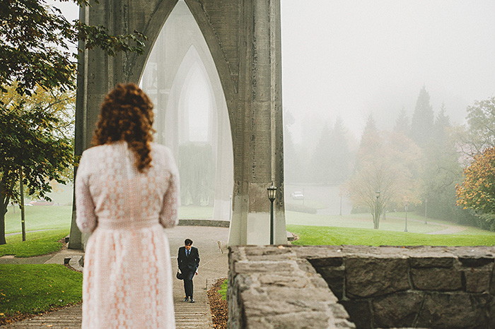 bride waiting for groom in Cathedral park