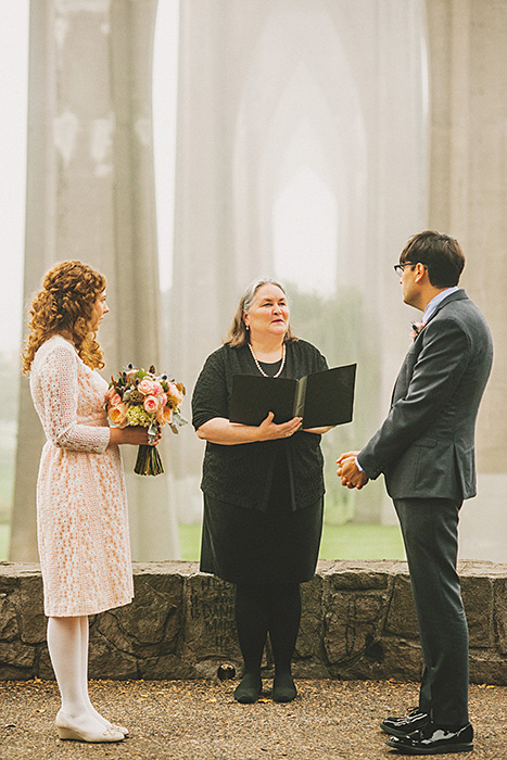 wedding ceremony in cathedral park