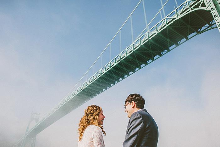 bride and groom underneath bridge