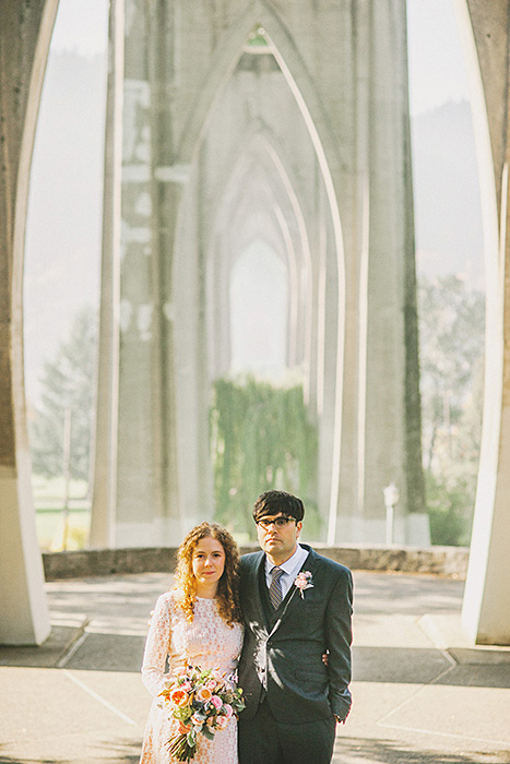 wedding portrait in cathedral park