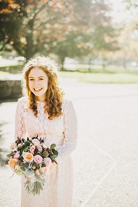 cute bride in vintage dress