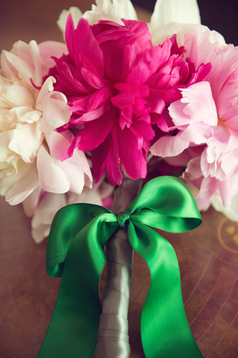 mixed pink peony bouquet with green satin ribbon