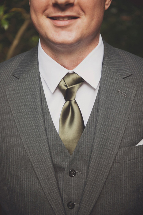 groom's green satin tie