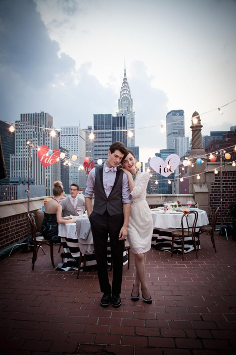 rooftop wedding party