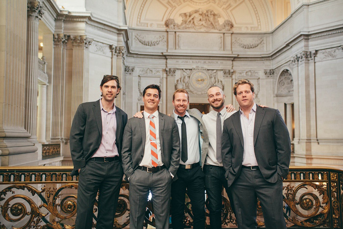 groomsmen at city hall