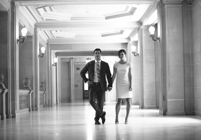 B+W portrait of bride and groom at city hall