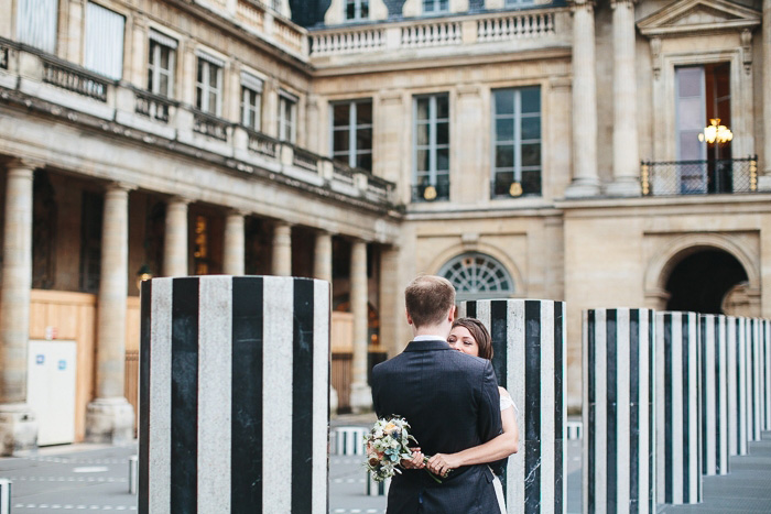 elopement ceremony at Palais Royale in Paris