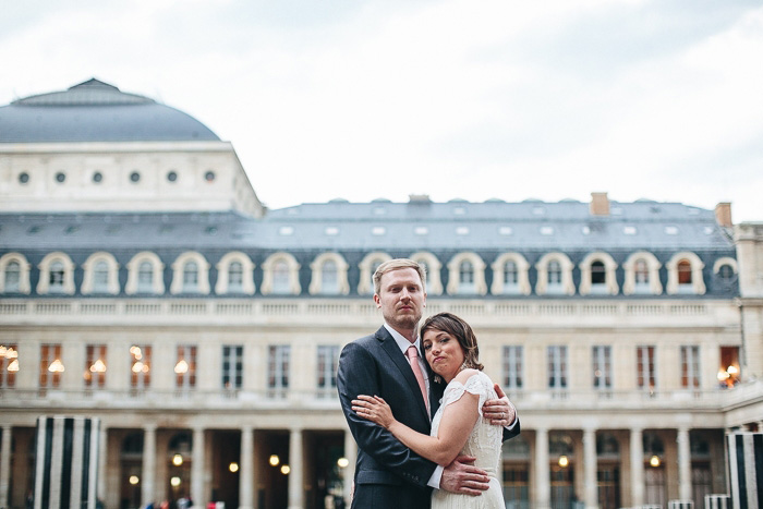 bride and groom at Palais Royale