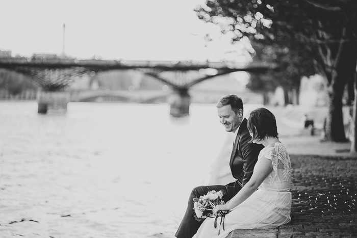 bride and groom by the seine