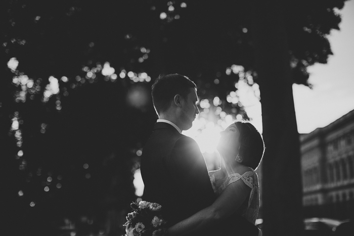 black and wedding portrait at sunset
