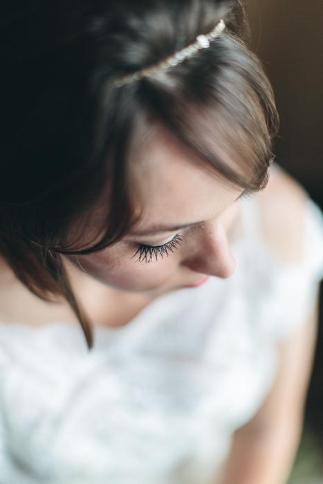 close-up of bride's eyelashes