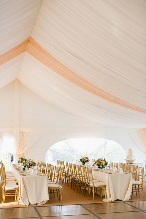 frame tent with draped ceiling