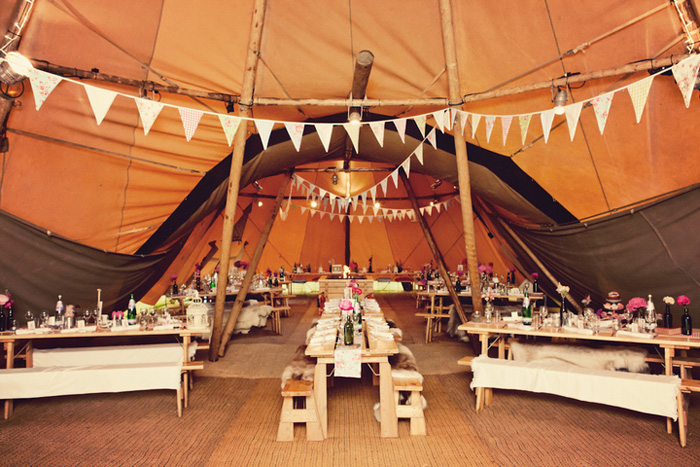 inside tipi wedding tent