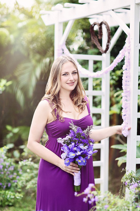 bridesmaid in purple dress