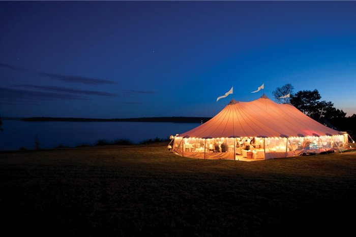sailcloth tent on the beach