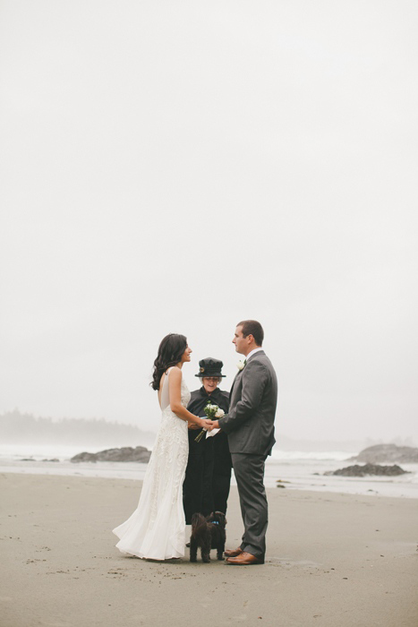 foggy beach elopement ceremony