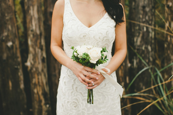 simple white rose wedding bouquet