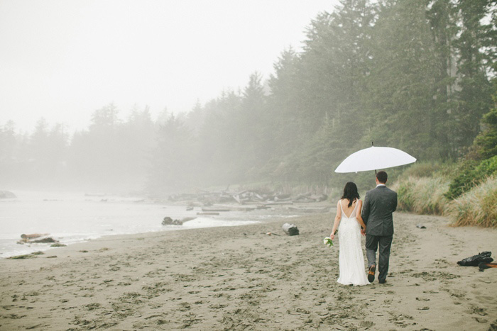 brie and groom walking on the beach under umbrella