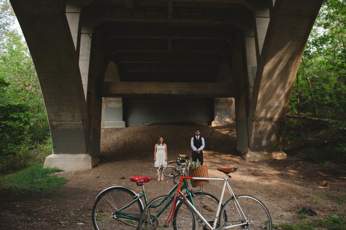 bicycle wedding portrait