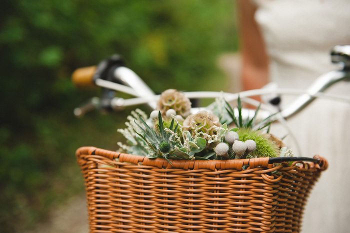 bouquet in bike basket