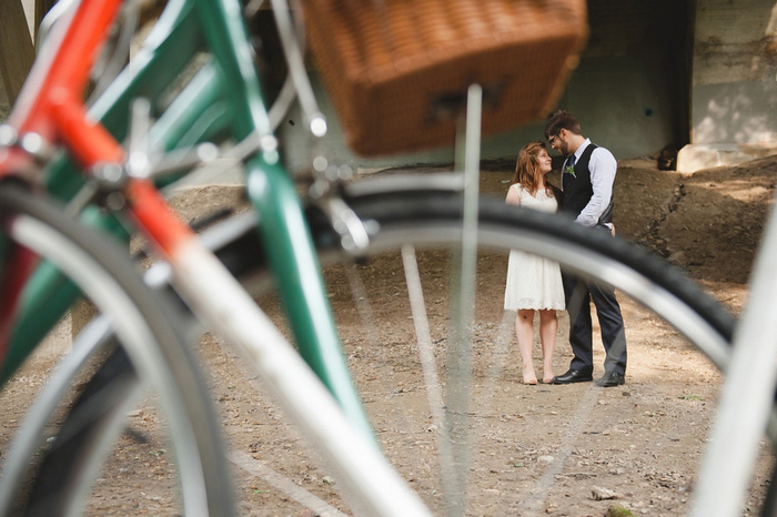 wedding portrait with bikes