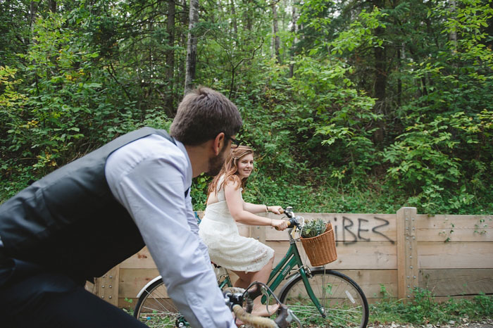 bride and groom cycling