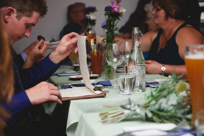 guests reading wedding menu