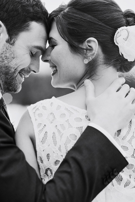 intimate black and white couple portrait