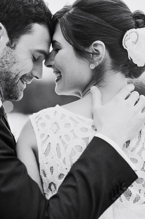 intimate black and white couple portrait