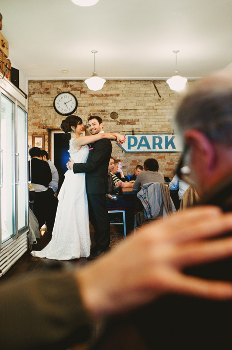 coffee shop wedding portrait