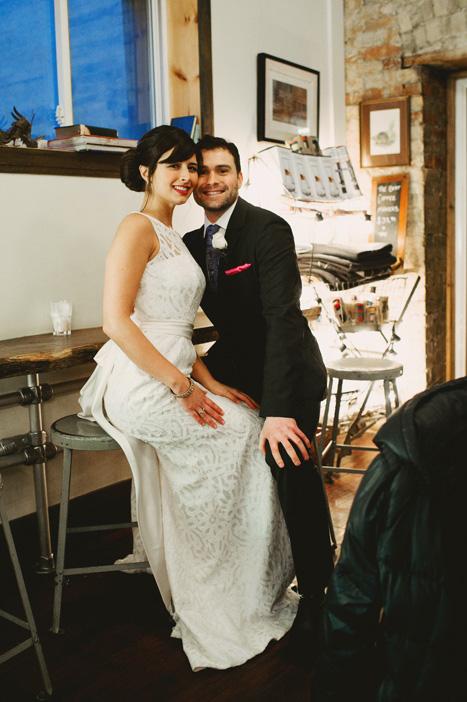 coffee shop wedding portrait