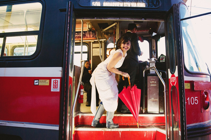 bride getting on the streetcar