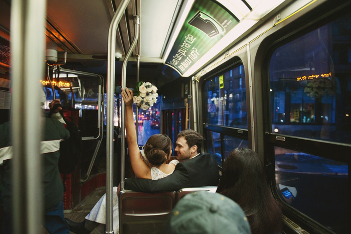 bride and groom on the streetcar