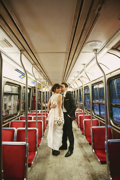 wedding portrait on the streetcar