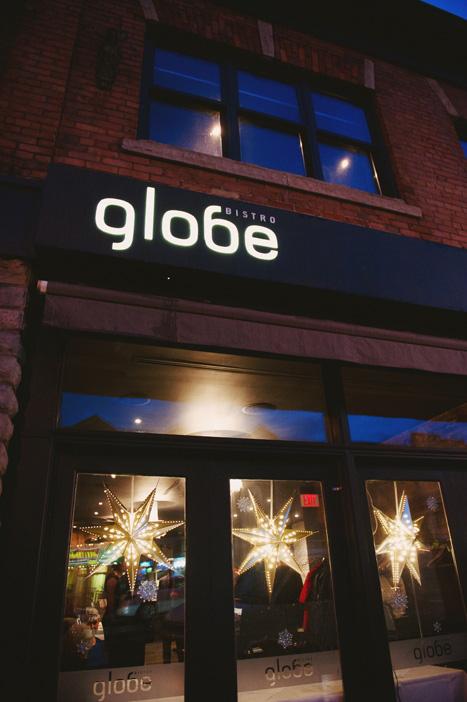 Globe restaurant at night