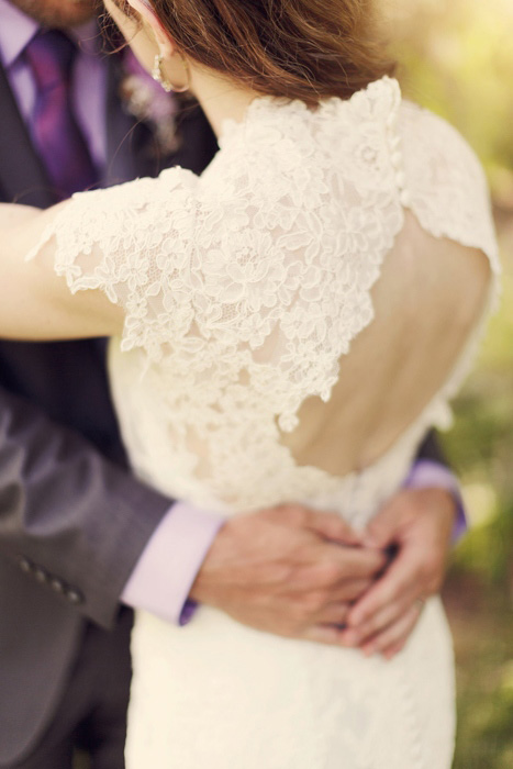 bride in lace dress with keyhole back