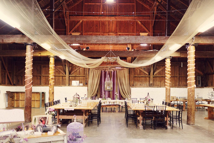 barn wedding reception set-up
