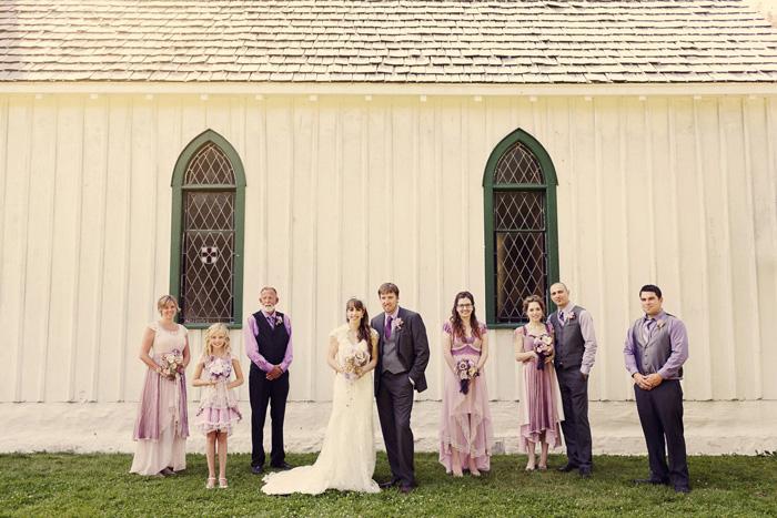 bridal party portait outside chapel