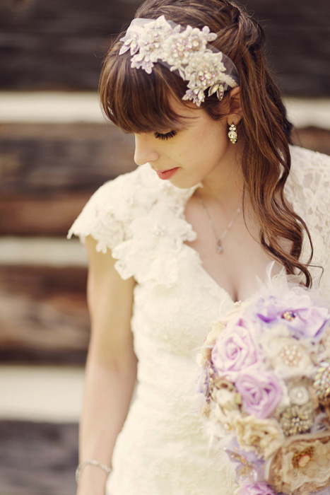 bride with beaded headband
