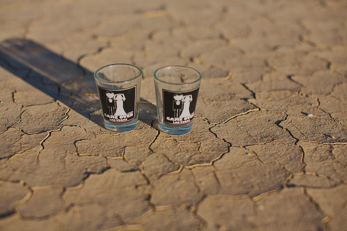 shot glasses in the desert