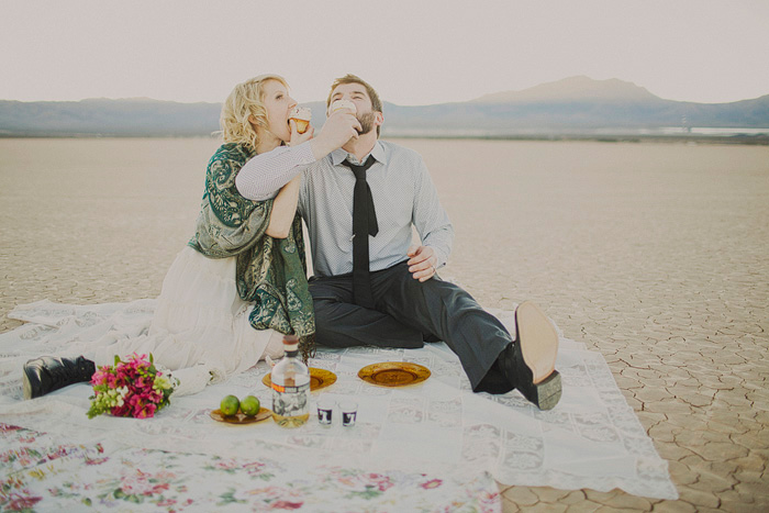 wedding picnic in the desert