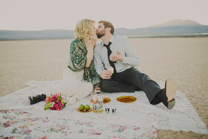 Las Vegas desert wedding picnic