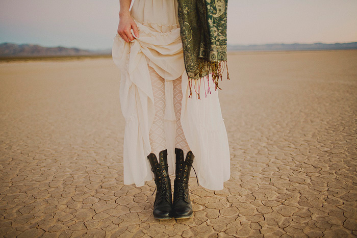 bride in lace-up boots
