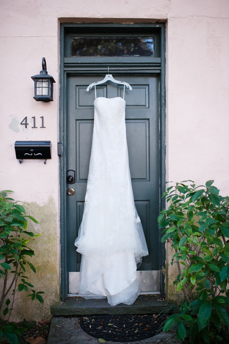 dress hanging in doorway