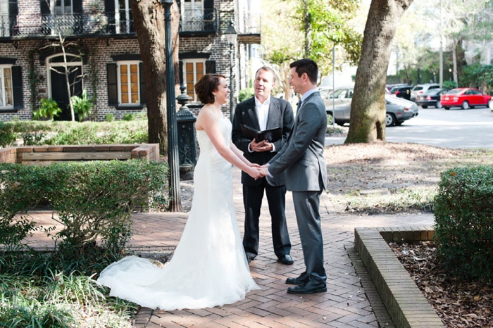 elopement ceremony on Savannah street