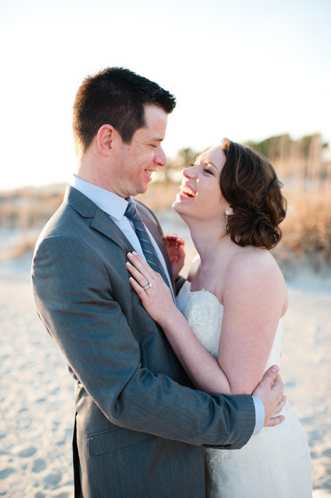 brideand groom hugging
