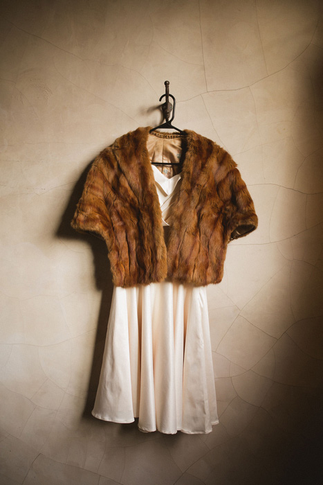 wedding dress and vinatge fur