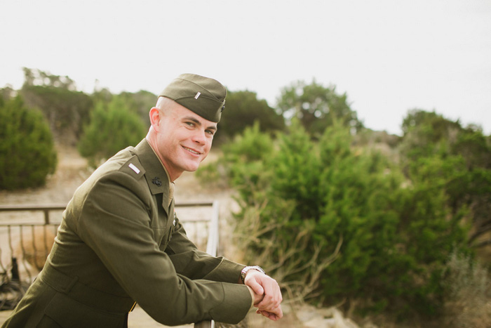 groom in army uniform