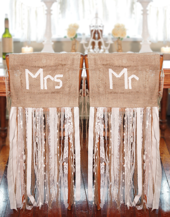Country Burlap Chair Covers